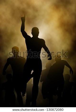 Illustration of a man celebrating winning a race with smoky or steamy background - stock photo