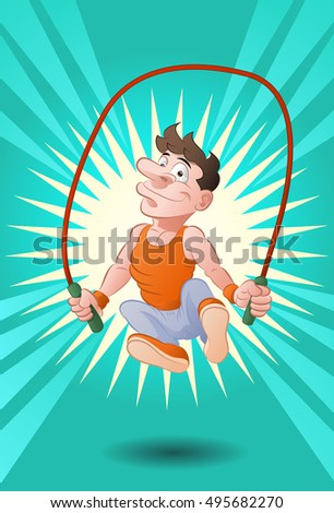 illustration of a man doing jumping rope skipping on fresh background