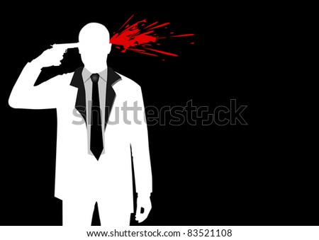 Illustration of a man figure shooting his head - stock photo