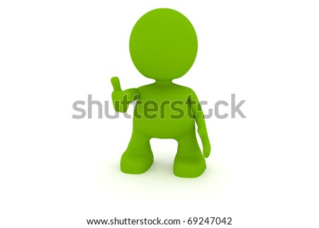 Illustration of a man giving the thumbs up.  Part of my cute green man series. - stock photo