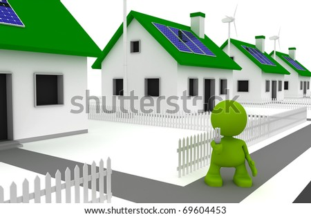 Illustration of a man holding an energy efficient lightbulb and standing in front of houses with solar panels and wind turbines.  Part of my cute green man series. - stock photo