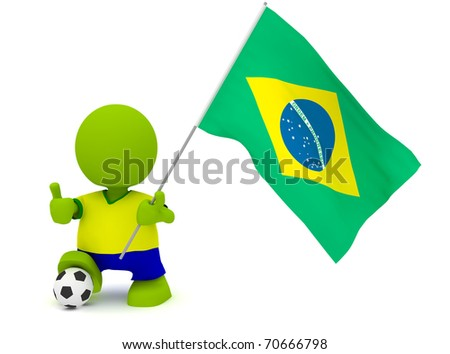 Illustration of a man in a Brazilian soccer jersey with a ball holding a flag. Part of my cute green man series. - stock photo