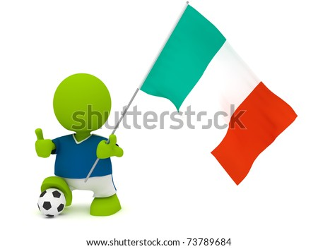 Illustration of a man in an Italian soccer jersey with a ball holding a flag. Part of my cute green man series.