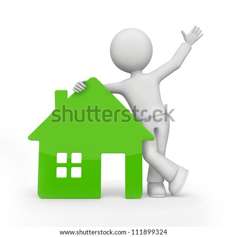 Illustration of a man leaning against a green home. Isolated on white. - stock photo