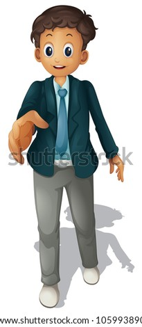 Illustration of a man offering handshake - stock photo
