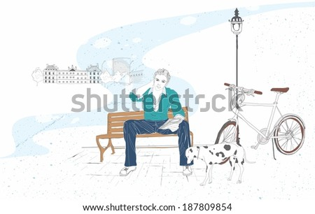 Illustration of a man on bench with dog