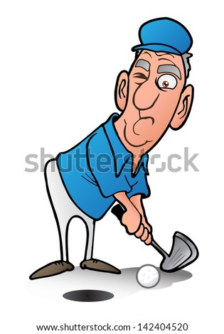 illustration of a man playing golf on isolated white background