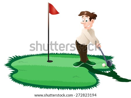 illustration of a man playing golf on isolated white background - stock photo