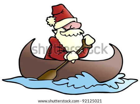 illustration of a man rafting  wearing santa cloth on isolated white background - stock photo
