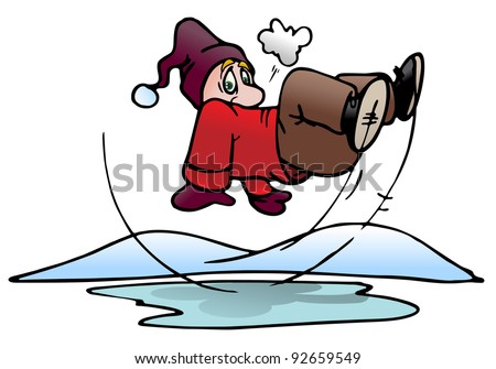 illustration of a man slip on ice pool background - stock photo