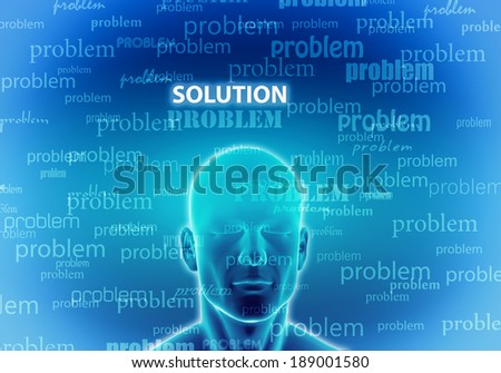 Illustration of a man thinking to find  a solution - stock photo