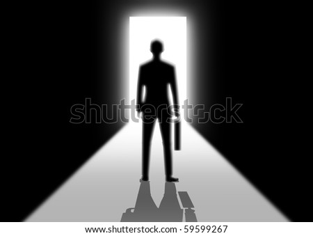 Illustration of a man walking into a bright side - stock photo