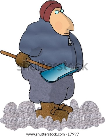 Illustration of a man with a snow shovel.
