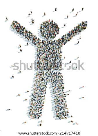 illustration of a man with his arms raised - stock photo