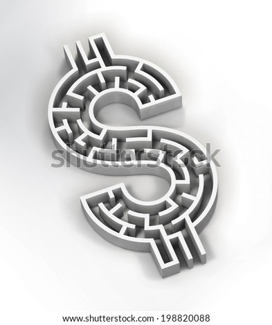 Illustration of a maze shaped like a dollar sign. - stock photo