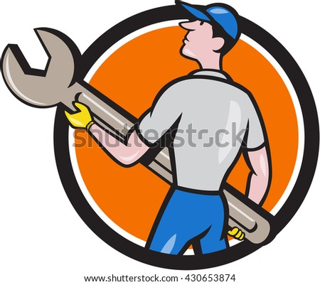 Illustration of a mechanic carrying giant spanner looking up to the side viewed from rear set inside circle on isolated background done in cartoon style.  - stock photo
