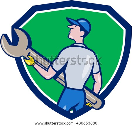 Illustration of a mechanic carrying giant spanner looking up to the side viewed from rear set inside shield crest on isolated background done in cartoon style.  - stock photo