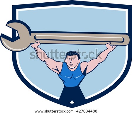 Illustration of a mechanic lifting giant spanner wrench over head viewed from front set inside shield crest on isolated background done in cartoon style.  - stock photo