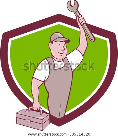 Illustration of a mechanic wearing hat and overalls lifting raising up spanner wrench holding toolbox looking to the side viewed from front set inside shield isolated background done in cartoon style - stock photo