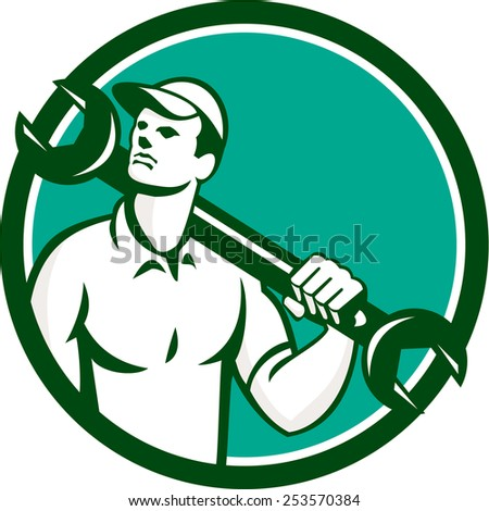 Illustration of a mechanic wearing hat holding spanner wrench on shoulder looking up to the side set inside circle on isolated background done in retro style. - stock photo