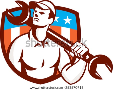 Illustration of a mechanic wearing hat holding spanner wrench on shoulder looking up to the side set inside shield crest american usa stars and stripes  flag in the background done in retro style. - stock photo