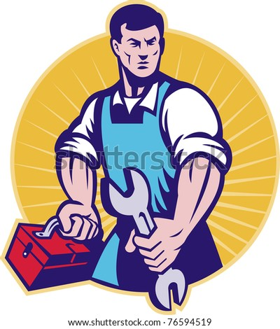 illustration of a mechanic with toolbox and wrench spanner done in retro style set inside a circle with sunburst
