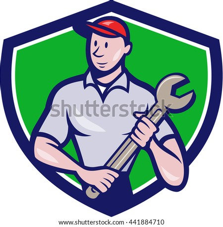 Illustration of a mechanic worker standing looking to the side carrying spanner viewed from front set inside shield crest on isolated background done in cartoon style.  - stock photo