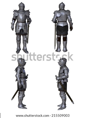 Illustration of a Medieval knight wearing 15th century Milanese armour, set of four character views, 3d digitally rendered illustration