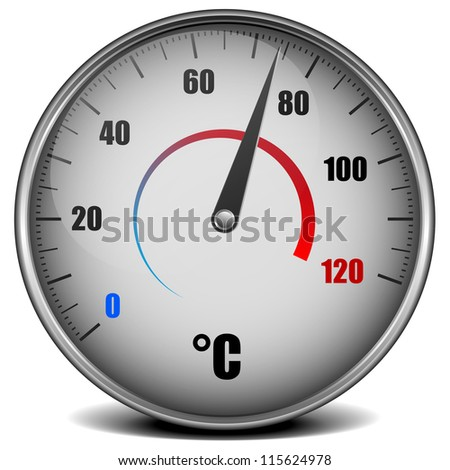 illustration of a metal framed analog thermometer - stock photo
