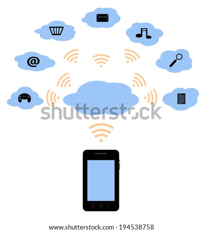 illustration of a mobile phone using the wifi for the cloud