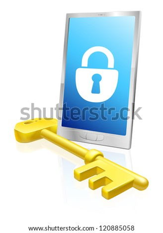 Illustration of a mobile phone with lock symbol on the screen and large golden key. A security concept. - stock photo
