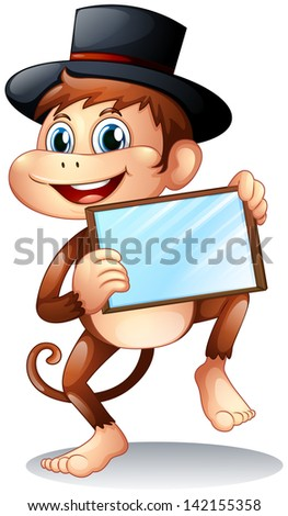 Illustration of a monkey holding a mirror on a white background