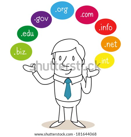 Illustration of a monochrome cartoon character: Businessman explaining and presenting colorful bubbles around him reading domain names. - stock photo