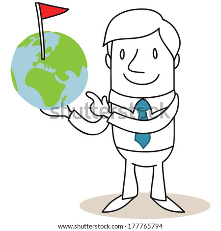 Illustration of a monochrome cartoon character: Friendly businessman pointing at and holding a globe with a marked spot  - stock photo