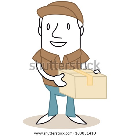 Illustration of a monochrome cartoon character: Mailman holding parcel in his hands.