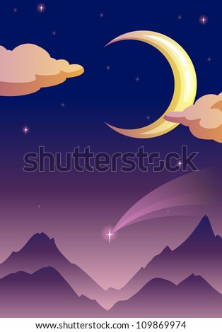 illustration of a moon and stars in dark night sky