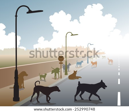 Illustration of a motley group of stray dogs on a lonely road - stock photo