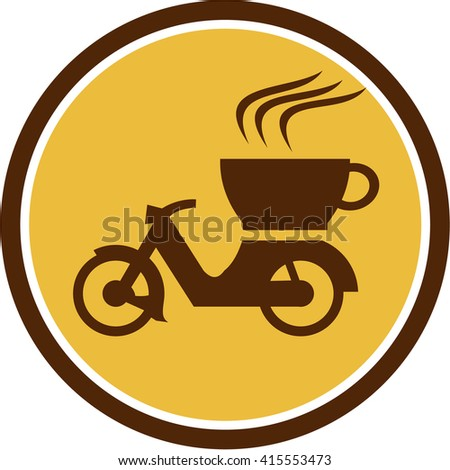 Illustration of a motorcycle motorbike scooter with cup coffee delivery viewed from the side set inside circle done in retro style.