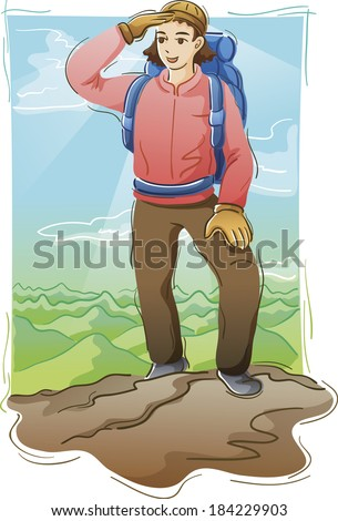 Illustration of a mountaineer