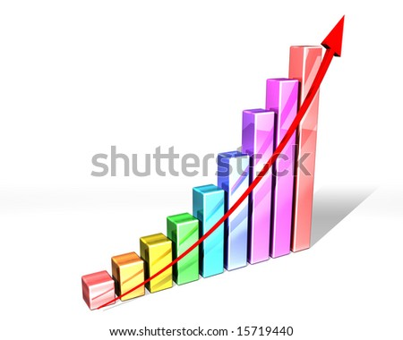 Illustration of a multi-colored bar chart with strong upward trend