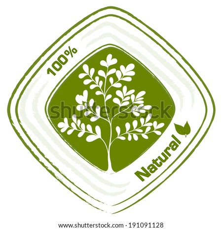 Illustration of a natural label with plants on a white background
