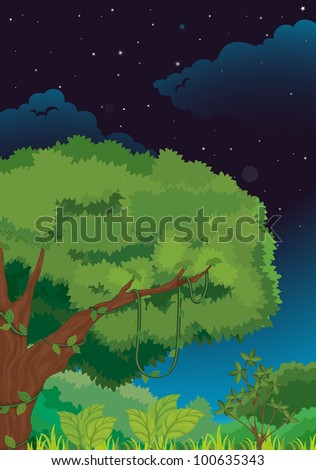 Illustration of a nature background at night - EPS VECTOR format also available in my portfolio.