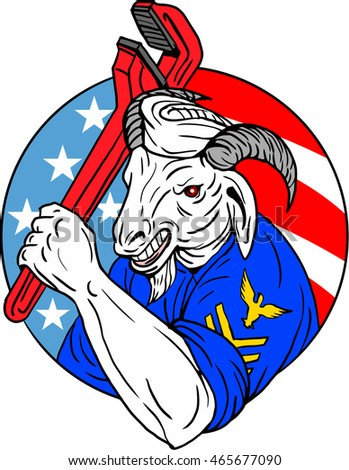 Illustration of a navy goat holding pipe wrench set inside circle with usa american flag stars and stripes in the background done in retro style.