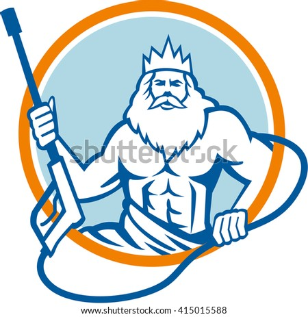 Illustration of a Neptune, roman god of sea holding pressure power washer water blaster viewed from front set inside circle on isolated background done in retro style.