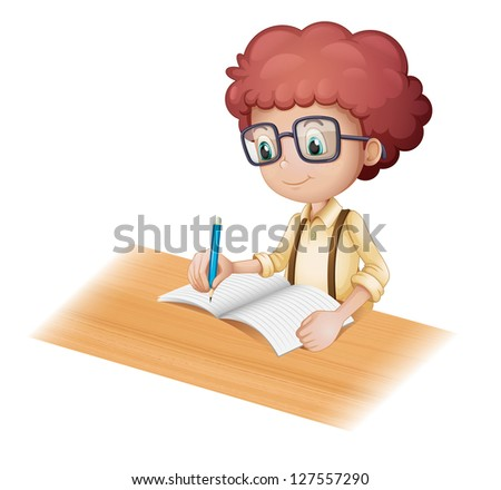Illustration of a nerd boy writing on a white background - stock photo
