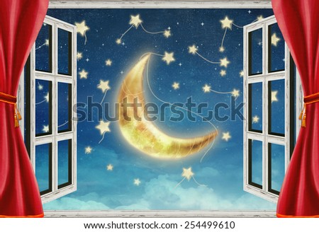 Illustration of a night view from a window - stock photo