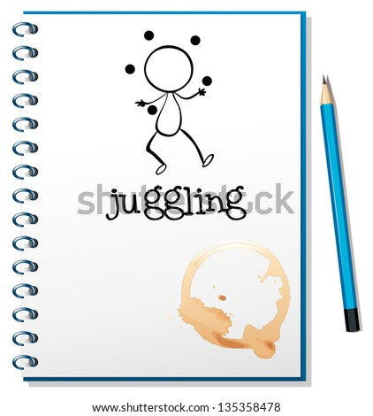 Illustration of a notebook with a sketch of a boy juggling on a white background - stock photo