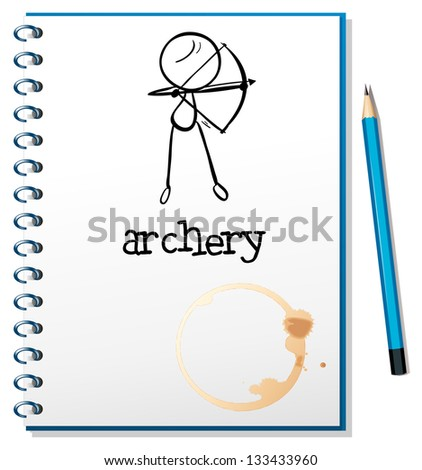Illustration of a notebook with an archery design on a white background - stock photo