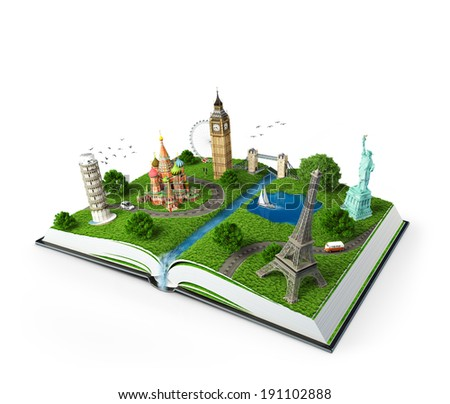 illustration of a opened book with famous monuments. traveling - stock photo