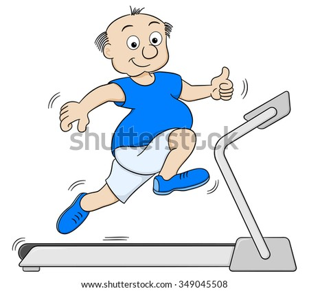 illustration of a overweight man jogging on a treadmill - stock photo